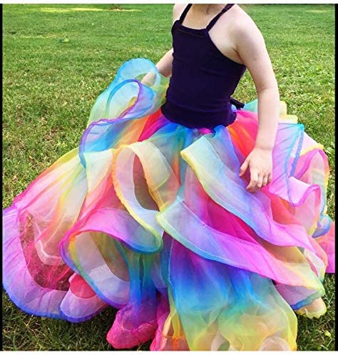 Dress Wedding Organza Fabric Rainbow Multicolored Tutu Voile for Organza Bags Home Decorations,16 Feet by 54 Inch DIY Craft Supplies