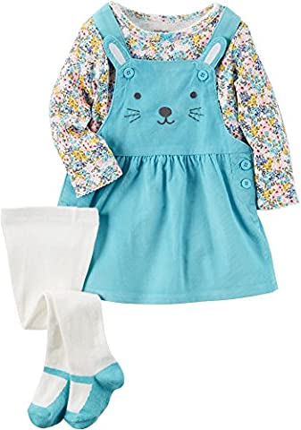 Carter's Baby Girls' 3-Piece Floral Tee & Bunny Jumper Set 18 Months - Corduroy Jumper Dress Set