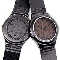 Reloj de madera grabado para hombre, reloj de madera natural para marido, hijo, padre, ébano natural, reloj de madera personalizable para cumpleaños, aniversario, regalo, Estándar hombre