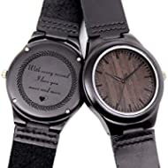 Engraved Wooden Watches for Boyfriend Husband, Personalized Ebony Wood Watch for Birthday...