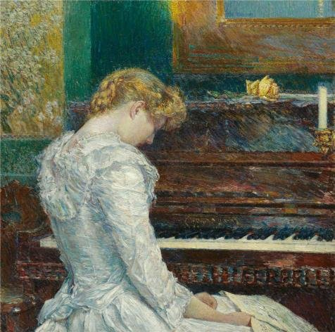 'Childe Hassam,The Sonata,1893' Oil Painting, 8x8 Inch / 20x20 Cm ,printed On High Quality Polyster Canvas ,this Reproductions Art Decorative Prints On Canvas Is Perfectly Suitalbe For Living Room Artwork And Home Decor And Gifts