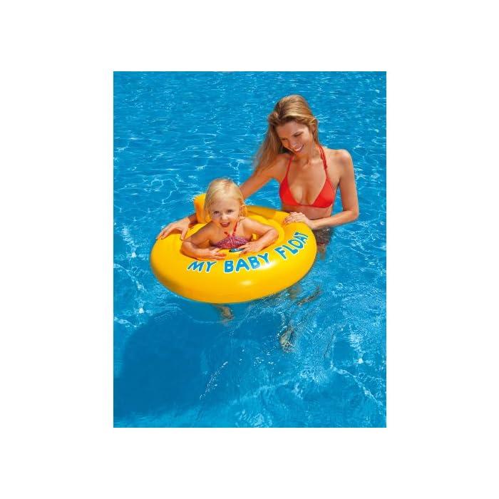 51deSclVUmL Flotador hinchable Intex para bebé con forma circular y de color amarillo Tiene asiento y respaldo de apoyo para mayor comodidad del bebé y un diámetro de 70 cm El flotador está fabricado con vinilo resistente y tiene 4 cámaras de aire