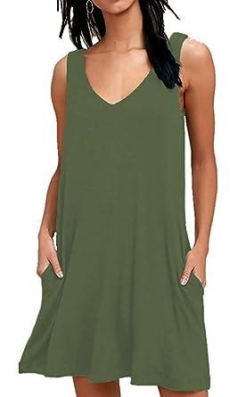 1ea7e65d094 MISFAY Women s Summer Casual T Shirt Dresses Beach Cover up Plain Tank Dress  with Pockets (