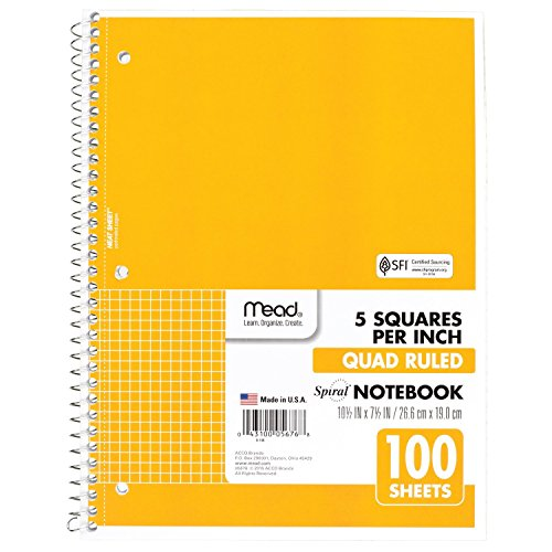 , 1 Subject, Quad Ruled, 100 Sheets, 10-1/2