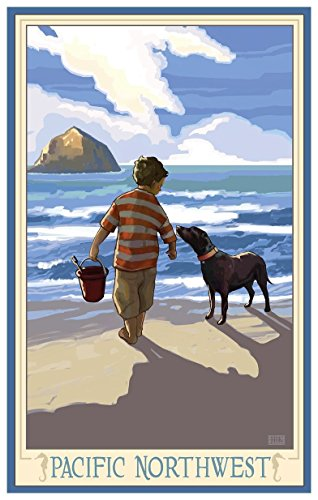 Pacific Northwest Boy Dog West Travel Art Print Poster by Joanne Kollman (18