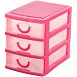 NEW Arrival Durable Plastic Mini Desktop Drawer Sundries Case Small Objects Cosmetics Storage Box Stackable Cube Organizer 2/3 Drawers (Three Layer:Pink)