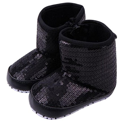 Baby Shoes, Egmy Baby 3-12 Months Sequins Soft Sole Warm Shoes Boots (9-12 months, Black)
