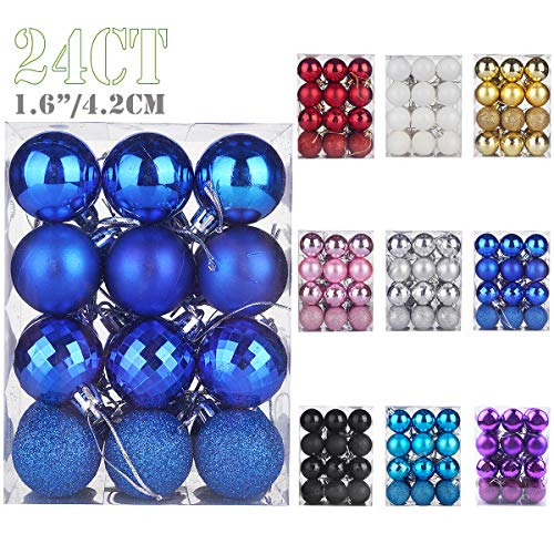 Emopeak 24Pcs Christmas Balls Ornaments for Xmas Christmas Tree - 4 Style Shatterproof Christmas Tree Decorations Hanging Ball for Holiday Wedding Party Decoration (Navy Blue, 1.6