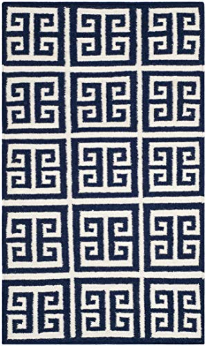 Safavieh Dhurries Collection DHU626D Hand Woven Navy and Ivory Premium Wool Area Rug 2 6 x 4