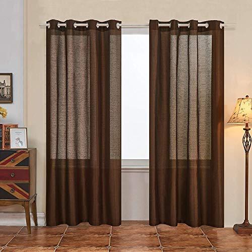 Subrtex 2 Panels Faux Silk Semi-Sheer Elegance Window Curtains, 52'' x 84'', Chocolate (Brown Silk Curtains)