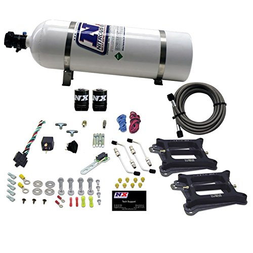 (Nitrous Express 30240-15 50-300 HP Dual/4150/Gasoline Conventional Stage 6 Plate System with 15 lbs. Bottle)