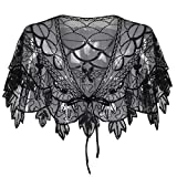 PrettyGuide Women's 1920s Shawl Beaded Vintage Bolero Flapper Evening Wraps Black