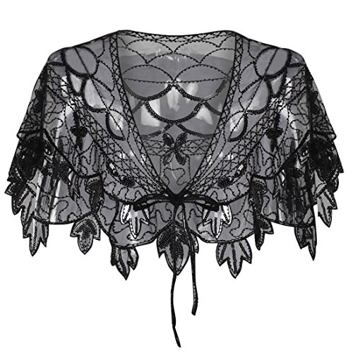 (PrettyGuide Women's 1920s Shawl Beaded Vintage Bolero Flapper Evening Wraps Black)