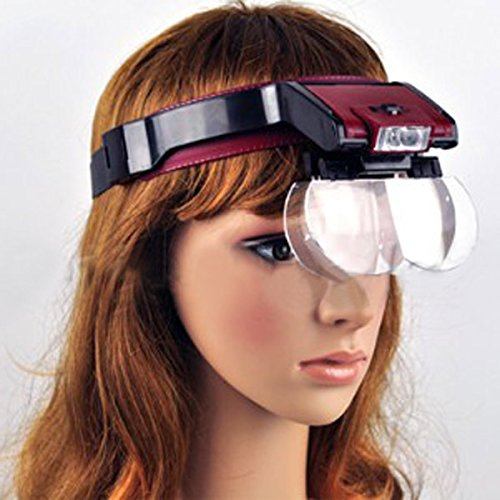 Detachable 4 Glass Lens 3.5X Loop Head Band Visor led Light by QOJA