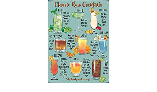 Desconocido Clásico Ron Cocktails Mojito Piña Colada Zombie ...