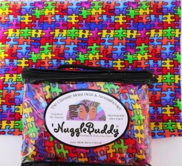 'NUGGLEBUDDY Microwavable Moist Heat & Aromatherapy Organic Rice Pack. Cozy Flannel Jigsaw Puzzle Fabric with SWEET LAVENDER Aromatherapy! The Perfect Gift Idea! USPS Priority Express Shipping Available!