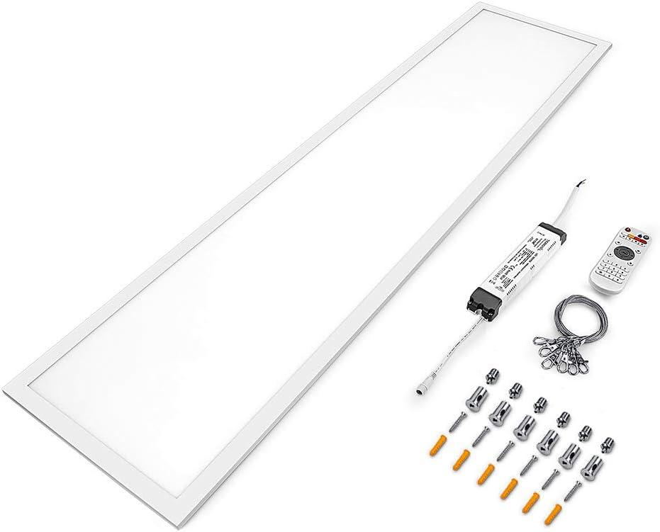 120x30 cm para la oficina como l/ámpara de techo o l/ámpara colgante. Anten 2 LED Panel 40w Regulable con control remoto CCT y color de la luz ajustable de blanco c/álido a blanco fr/ío