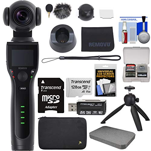 REMOVU K1 4K Video Camera with Integrated 3-Axis Gimbal Stabilizer with Microphone, Charging Cradle, Lens Cover, Strap + 128GB Card + Tripod Kit