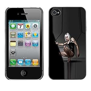 Cubierta de la caja de protección la piel dura para el Apple iPhone 4 / 4S - Sexy Sci Fi Girl