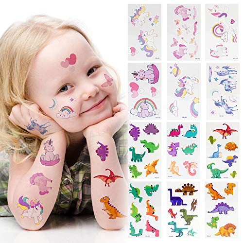 LITTLE SIENA Dinosaur Unicorn Party Supplies Temporary Tattoos Stickers for Kids Boys Girls Children Party Favors and Birthday Decorations -12 Sheets
