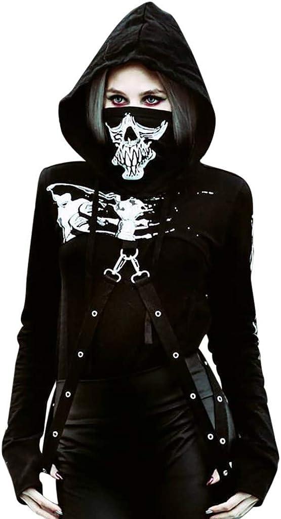 QinMMROPA Sudadera con Capucha Punk Corta para Mujer Esqueleto Estampado Camiseta Deportiva con Capucha de Halloween Camisa gótica Negro L: Amazon.es: Ropa y accesorios