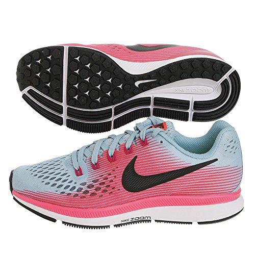 Nike Womens Air Zoom Pegasus 34 (ampia) Scarpa Da Corsa Mica Blu / Bianca - Rosa Da Corsa