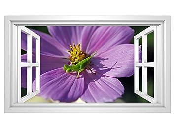 3D Wandtattoo Grille grün lila Blume Grashüpfer Fenster ...