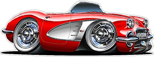 1958-1962 Corvette WALL DECAL 2ft long Vinyl Decals Stickers for Boys Cars Old 50s Mens Bedroom Garage Man Cave Home Decor