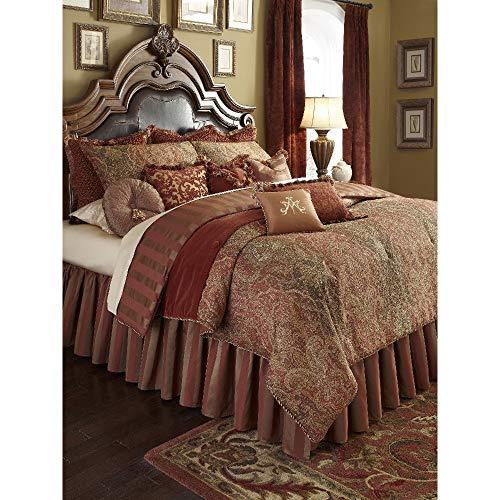 HNU 13 Pieces Supreme Victorian Comforter Set King, Designer Jacquard Bedding Set, Paisley Elegant Burgundy Bronze Gold Bed Comforter Set Reversible Stripe Beautiful Decorative Rich Textured ()