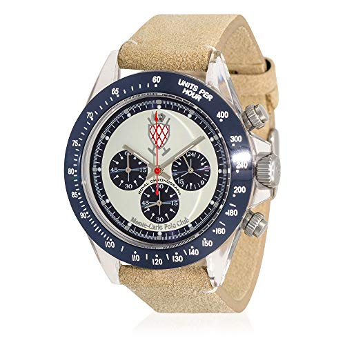 Carlo Monte Leather Watch (Monte-Carlo Polo Club Mens Classic Chronograph Watch with Silver Dial and Ivory Suede Leather Strap)