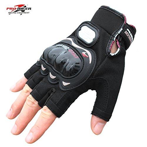 Half finger motorcycle gloves racing glove 01C (M, Black)