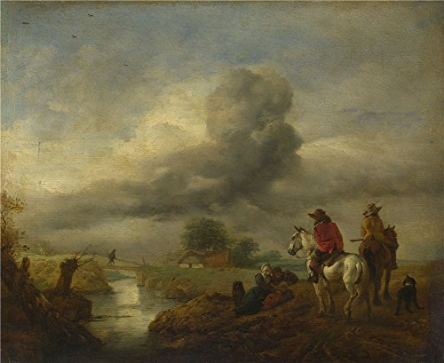 philips-wouwermans-two-vedettes-on-the-watch-by-a-stream-oil-painting-10-x-12-inch-25-x-31-cm-printe