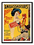 Iposters Ambassadeurs Paris Tout Nu Cabaret Print Magnetic Memo Board Black Framed - 41 X 31 Cms (approx 16 X 12 Inches)