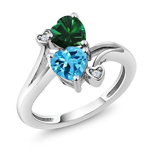 Blue Simulated Topaz - 925 Sterling Silver Swiss Blue Topaz and Green Simulated Emerald Women's Ring (1.66 Ctw Heart Shape Available in size 5, 6, 7, 8, 9)