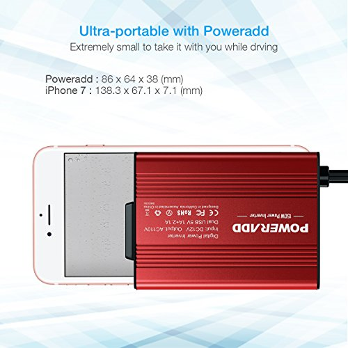 Poweradd 150W Car Power Inverter 12V/DC to 110V/AC Converter with Dual USB Ports (3.1A Total) for Smartphones, Tablet, Laptop, Breast pump, Nebulizer and More - Red by POWERADD (Image #4)