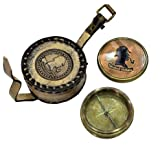 Brass Nautical Magnetic Brass Compass In Leather Case Sherlock Holmes Brass Antique