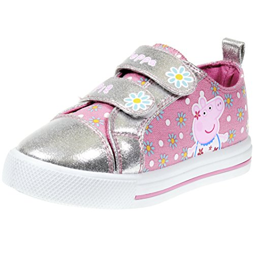 Floral Pig (Peppa Pig Kids Toddler Girls Silver and Pink Floral Canvas Sneaker with Hook and Loop Straps, Size 5)