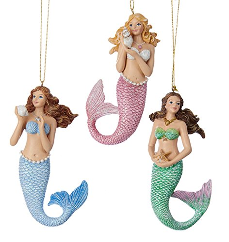 Pink Blue and Green Mermaids Christmas Ornaments Set of 3 Resin