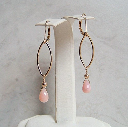 Beautiful Peruvian Pink Opal Teardrop Gold Filled Leverback Earrings Her Special Day Gift (14k Opal Jewelry Box)