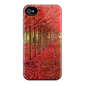 Premium OBHtAhQ5053DhODl Case With Scratch-resistant/ Red Autumn Path Case Cover For Iphone 4/4s