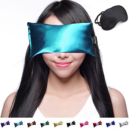 (Lavender Eye Pillow - Yoga Eye Pillow Lavender - Hot Cold Aromatherapy Weighted Eye Pillows for Yoga Sleeping Migraine Stress Relief Gifts for Women - Free Sleep Mask - USA Made Happy Wraps - Teal)