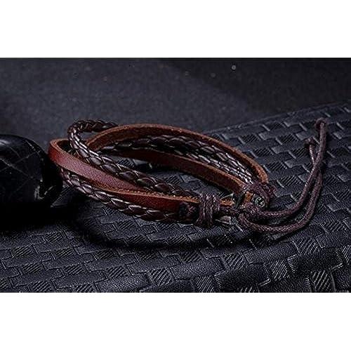 35b508071322 Surfista pulsera brazalete cuero trenzado cuatro filas marrón unisex  ajustable 16cm a 21cm 85% OFF
