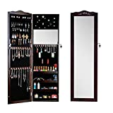 GLS Brown Wall Mount Over the Door Mirror Jewelry Armoire Cosmetic Storage with Lock