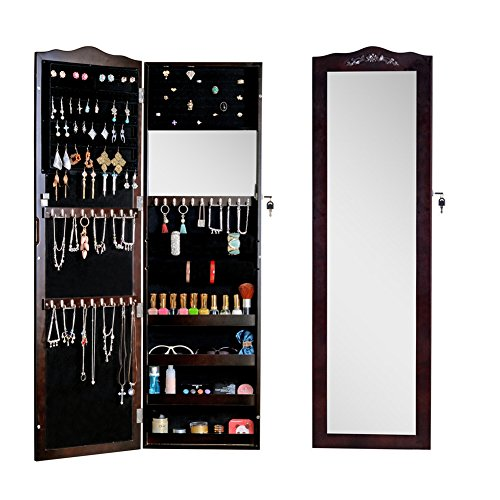 GLS Brown Wall Mount Over the Door Mirror Jewelry Armoire Cosmetic Storage with - Mirror Brown Black