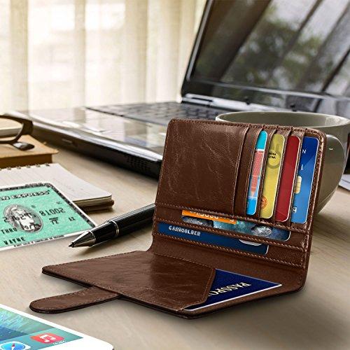 RFID Blocking Passport Holder (9 Slots), GreatShield Theft Proof Leather Wallet [5 Credit Card Slots | 3 Cash Compartments | 1 Passport Slot] for Men & Women – Brown by GreatShield (Image #4)