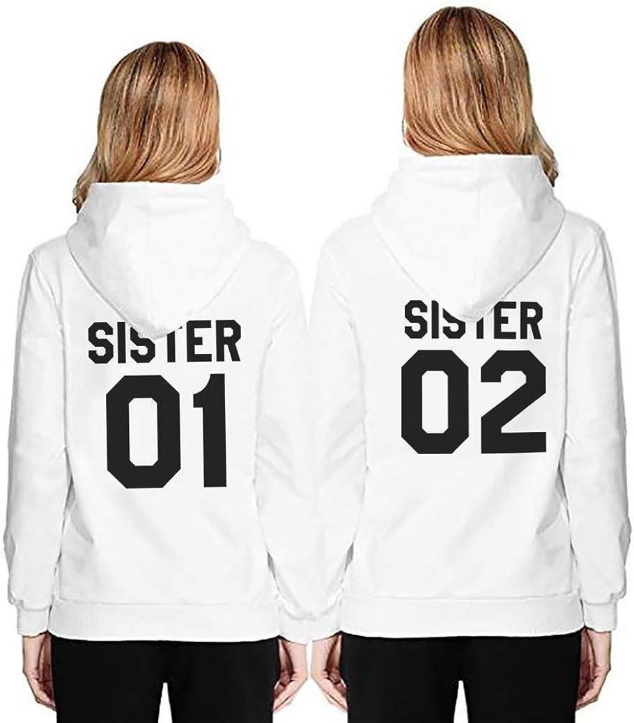 da Donna TAAIWO Sister Pullover per Due Ragazze Migliori Amici Set Sister Hoodies BFF Felpa con Cappuccio per Best Friends