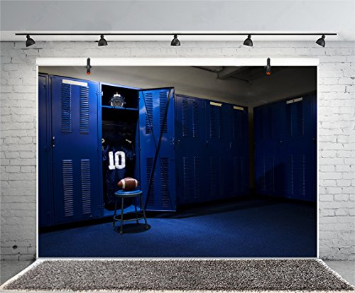 Leyiyi 8x6ft Photography Background Vintage Locker Backdrop Soccer Ball Game Football Training No. 10 Suit Sportswear Dressing Room Gym Helmet Fierce Sport Photo Portrait Vinyl Studio Video Prop ()