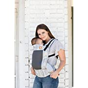 Baby Tula Free-to-Grow Baby Carrier, Adjustable Newborn to Toddler Carrier, Ergonomic and Multiple Positions for 7 – 45 pounds – Coast Syrena Sky (Blue Mermaid Scales with Light Gray Mesh)