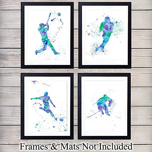 Sport Wall Art Prints - Makes a Great Affordable Gift - Perfect for Athletes and Sports Lovers - Modern Chic Home Decor - Ready to Frame (8x10) Photos - Football, Baseball, Soccer Hockey
