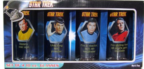 Star Trek * SET of 4 / 10 Oz Glasses * Spock * Kirk * Mccoy * Scotty * Original Series